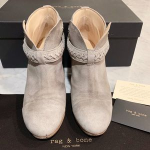 Rag & Bone Harrow Grey Suede Leather Ankle Boots